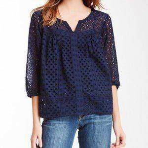 Lucky Brand Navy Brea Eyelet Lace Peasant Blouse